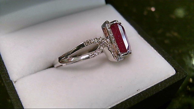 Genuine 5.17 CT Ruby with Diamond Accents 14K White Gold Ring