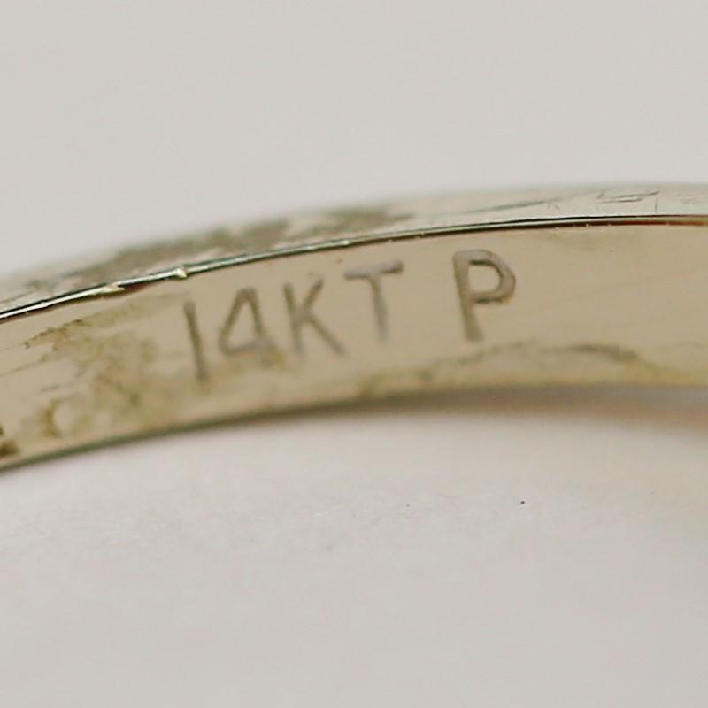 14K W/G Round Brilliant Cut Floral Designed Diamond Ring Size 6.5