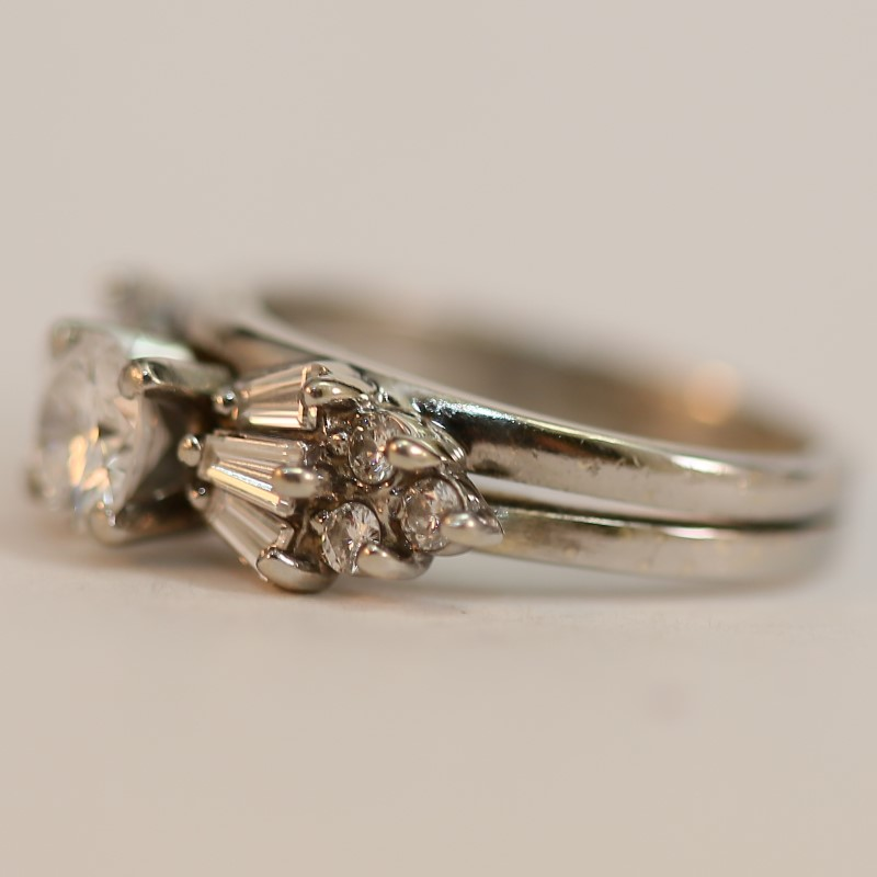 Vintage Inspired 14K White Gold Diamond Engagement Ring Size 5