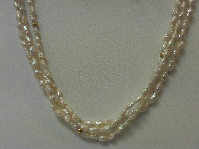 "24"" Pearl Strand Stone Necklace 14K Yellow Gold 23.6g"