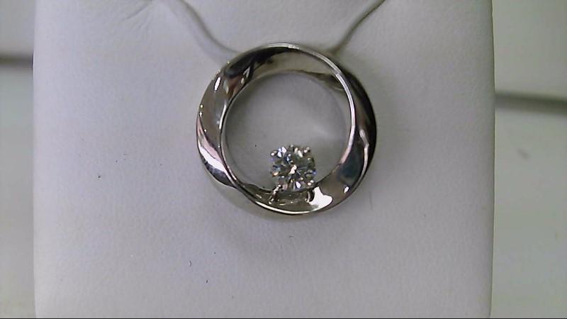 Lady's 14k white gold apx. .35ct round diamond circle pendant