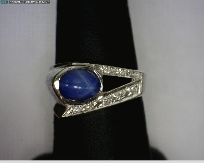 Star Sapphire Gent's Stone & Diamond Ring 10 Diamonds .10 Carat T.W.