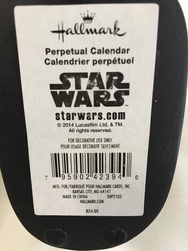 STAR WARS PERPETUAL CALENDAR VADOR