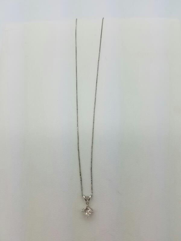 14KWG WMS NECKLACE,1.0 DIA STN