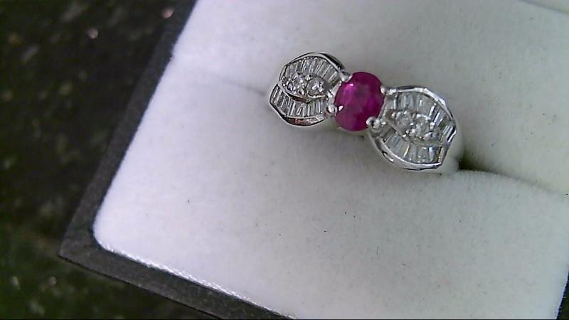 Synthetic Ruby Lady's Stone & Diamond Ring 34 Diamonds .36 Carat T.W.