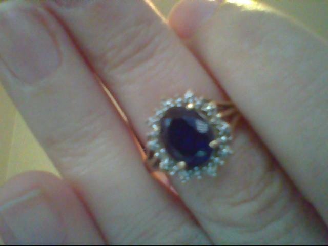Blue Stone Lady's Stone & Diamond Ring 2 Diamonds .004 Carat T.W.