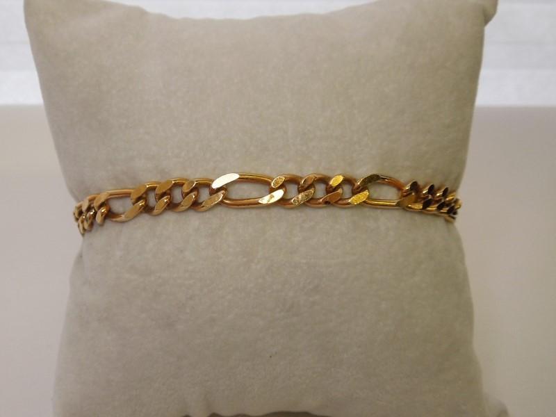 Gold Figaro Bracelet 14K Yellow Gold 12.9g