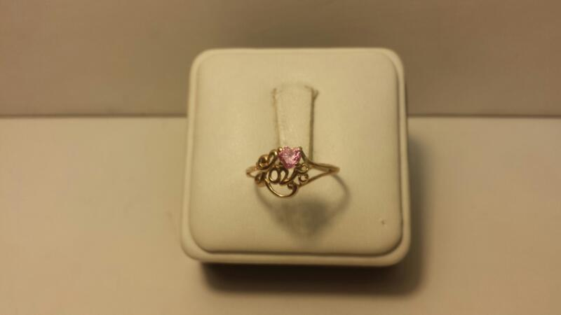 10k Yellow Gold Ring with 1 Pink Heart Stone and Love - .7dwt - Size 7