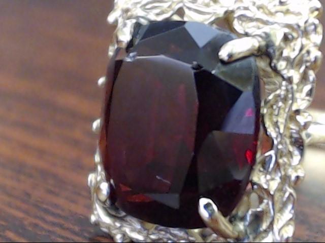 ESTATE GARNET RED RING SOLID 14K GOLD CUSHION CUT ORNATE COCKTAIL 6