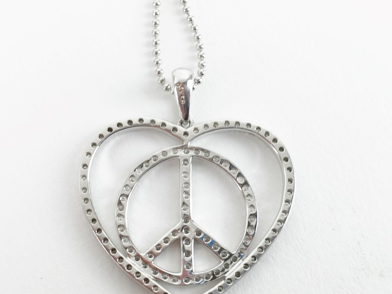 Diamond Heart with Peace w 75 Diamonds .75 Carat T.W. 14K White Gold 4g