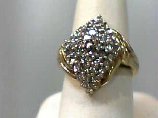 Lady's Diamond Cluster Ring 50 Diamonds 1.00 Carat T.W. 14K Yellow Gold 4.1dwt