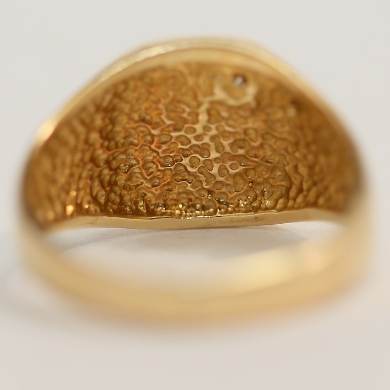 D Signet Solitaire 14K Yellow Gold and Diamond Ring Size 10