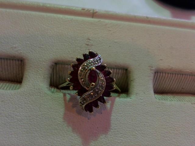 Synthetic Ruby Lady's Stone & Diamond Ring 10 Diamonds .050 Carat T.W.