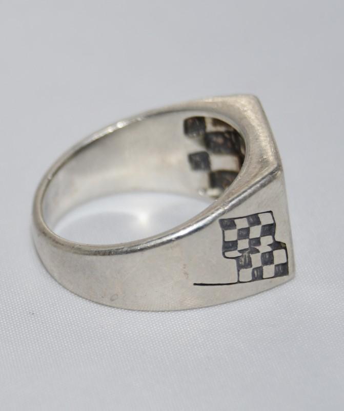 Men's Sterling Silver NASCAR's Kevin Harvick #29 Checkered Flag Ring