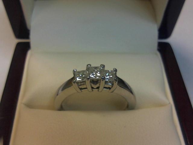 Lady's Gold-Diamond Anniversary Ring 3 Diamonds .50 Carat T.W. 14K White Gold