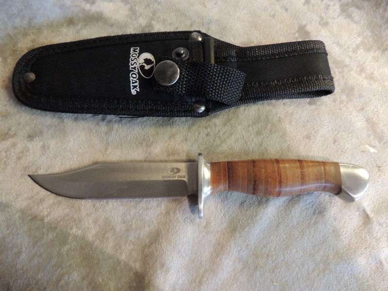 Mossy Oak Leather Handle Fixed Blade Hunting Knife 4""
