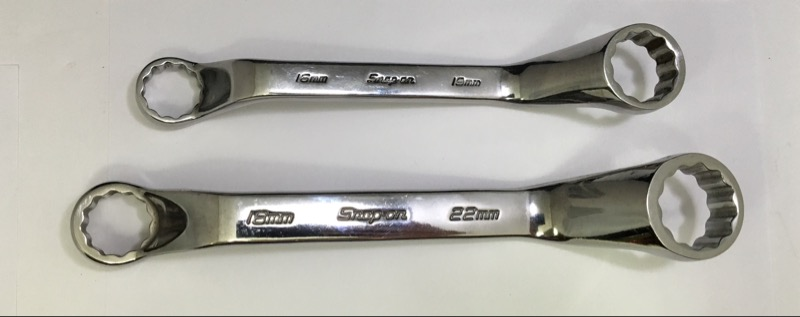 SNAP ON METRIC COMBINATION WRENCH SET; 16MM X 19MM, 18MM X 22MM