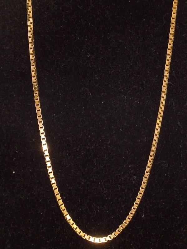 "24"" Gold Box Chain 14K Yellow Gold 8.7g"