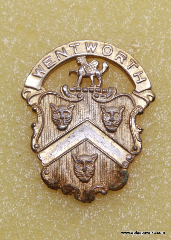 """VINTAGE WENTWORTH MILITARY ACADEMY  HAT PIN 1-1/2"""" X 1-5/8"""""""