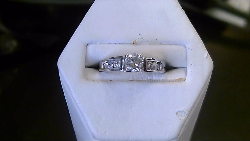 Lady's Diamond Engagement Ring 7 Diamonds .69 Carat T.W. 14K White Gold 3.8g
