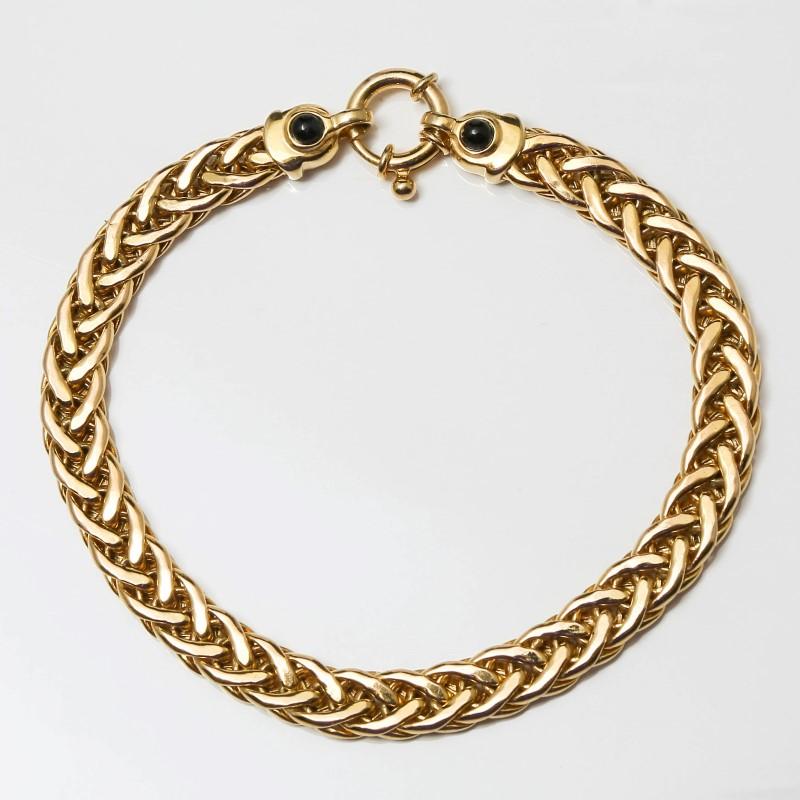 """7.5"""" 10K Yellow Gold Gold Bracelet w/ Onyx Stones on Clasp"""