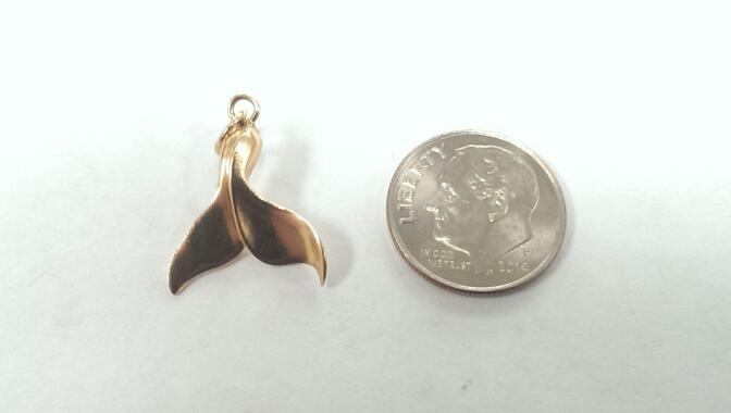 MOBY DICK WHALE TAIL CHARM 14K, STAMPED WITH MLJ ON REVERSE SIDE, 1.4 G.