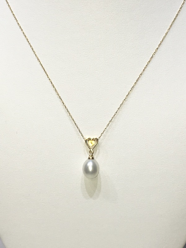 "14K Yellow Gold Diamond Heart & Pearl Drop Dangle 18"" Necklace"