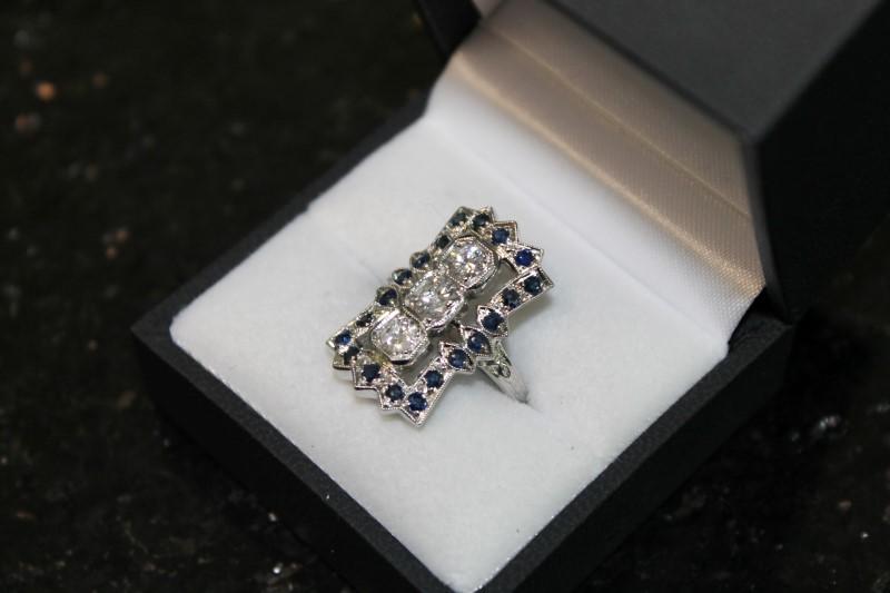 Syn Sapphire Lady's Stone & Diamond 14K White Gold Ring