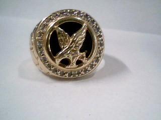 Black Stone Gent's Stone & Diamond Ring 3 Diamonds .03 Carat T.W.
