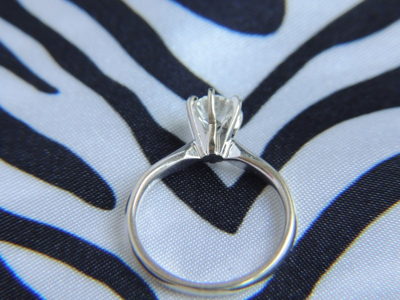 Lady's Diamond Solitaire Ring .45 CT. 14K White Gold 4.2g Size:4.8