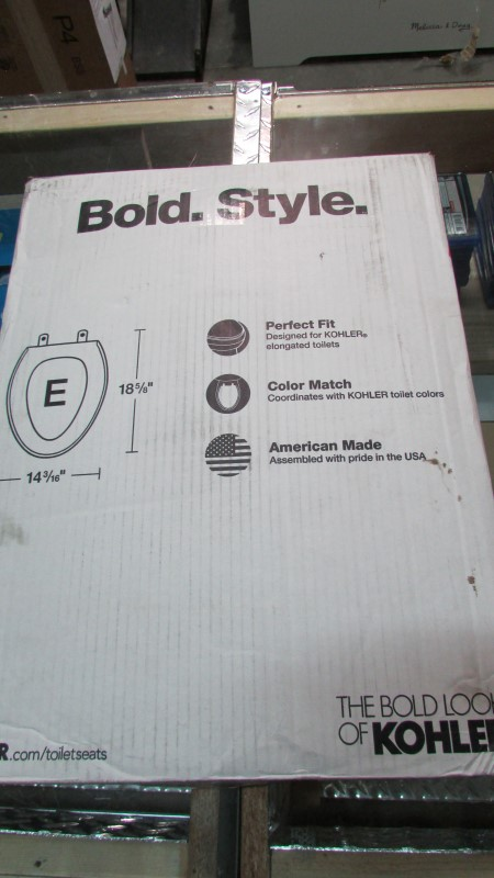 KOHLER BOLD TOILET SEAT, 14 3/16 BY 18 5/8 AS PICTURED