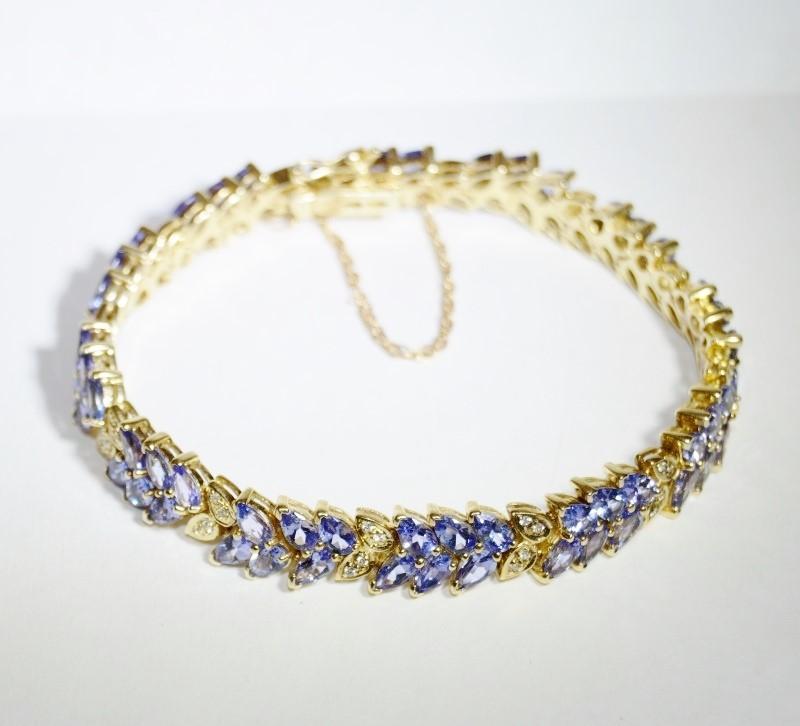 "6.5"" 14K Yellow Gold Pear Tanzanite Leaf Diamond Tennis Bracelet w/ Safety Chain"