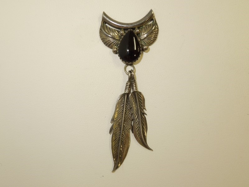 Synthetic Onyx Silver-Stone Pendant 925 Silver 6.2g