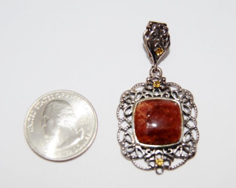 Sterling Silver Vintage Inspired Ornate Orange Cushion Cut Jasper Pendant