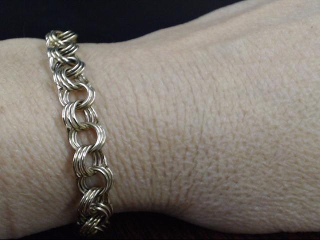 "ESTATE TRIPLE CURB LINK CLASSIC CHARM BRACELET REAL 10K GOLD 9.7g 7"""