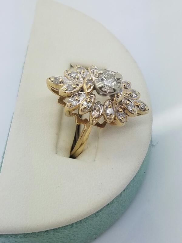 Lady's Diamond Cluster Ring 19 Diamonds .79 Carat T.W. 14K Yellow Gold 4.5dwt
