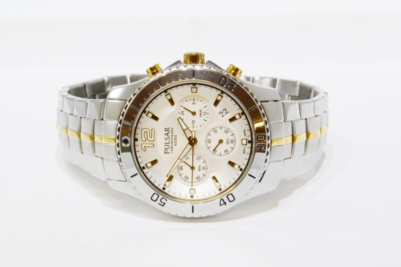 Pulsar Two-Tone St. Steel Chronograph Men's Watch VD53-X087