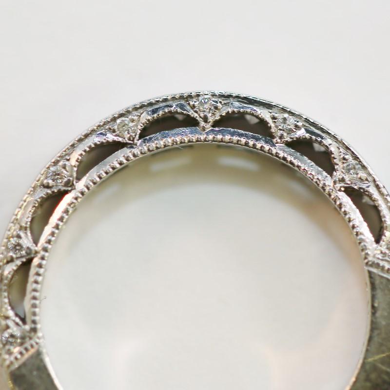 Vintage Inspired Detail Brilliant Diamond Wedding Band Size 4.75