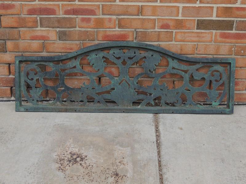 CAST IRON PARK BENCH BACK FLORAL VINE 45.5W x 15H