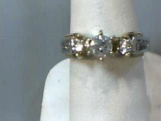 Lady's Diamond Engagement Ring 9 Diamonds .80 Carat T.W. 14K 2 Tone Gold 3.5dwt