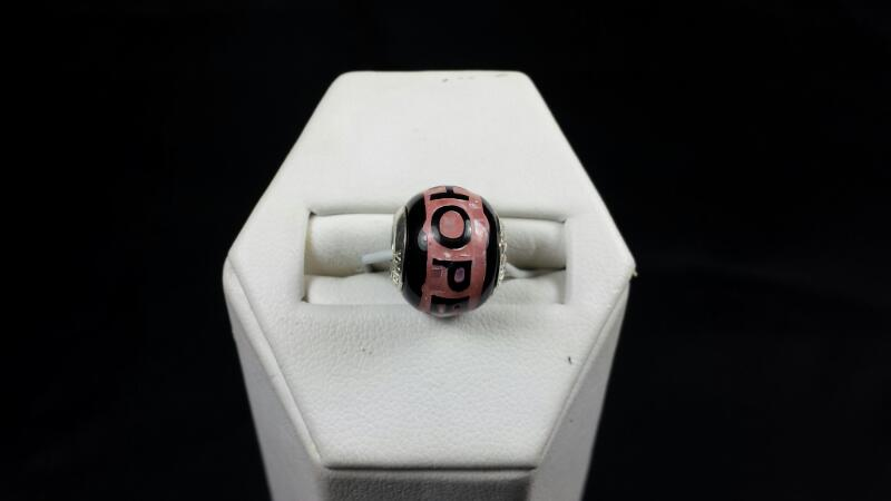 Reflections Pink and Black Hope Bead 925 Silver 2.5g