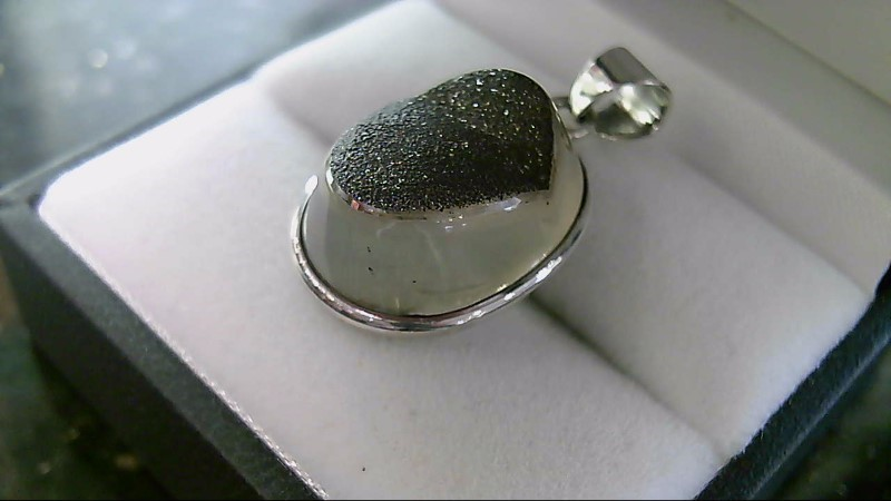 Black Stone w/ Sparkles Sterling Silver Pendant 925 5.1G