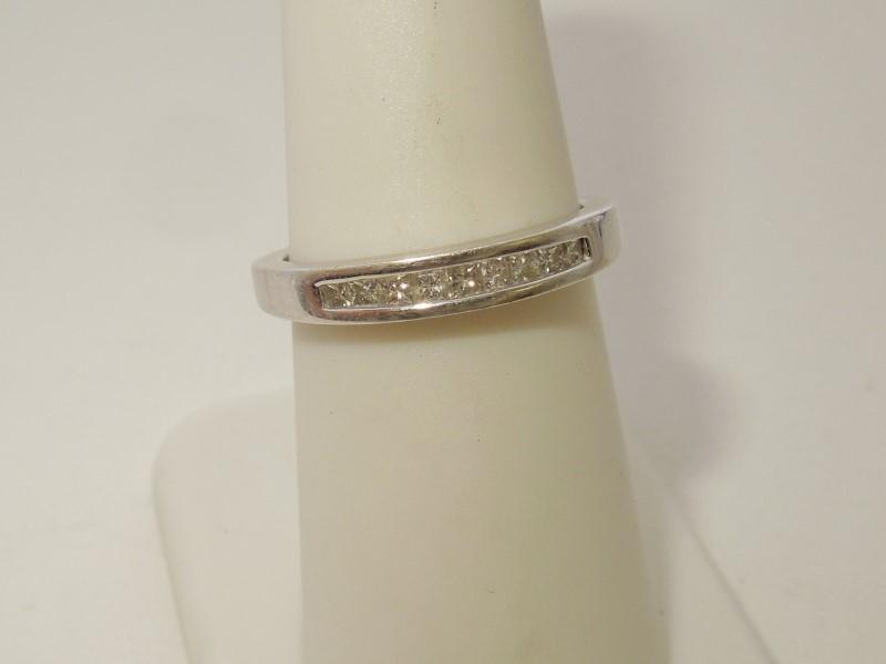 Lady's Gold-Diamond Anniversary Ring 9 Diamonds .27 Carat T.W. 14K White Gold