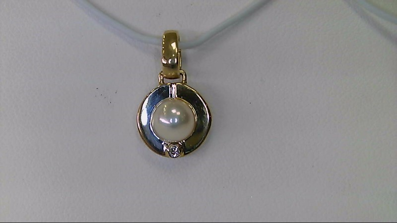 ESTATE YG 5MM PEARL WITH SM RD DIA CIRCLE PENDANT