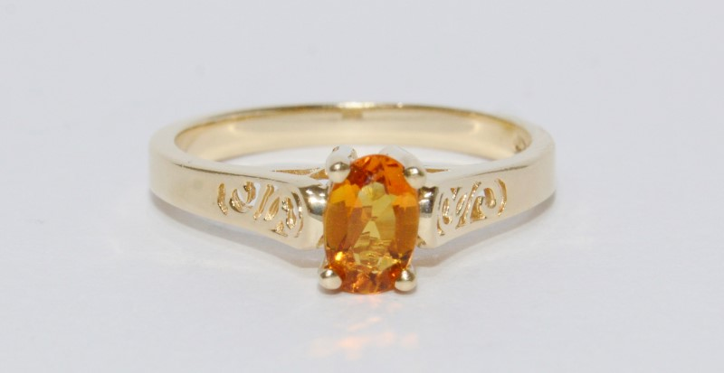 14K Yellow Gold Oval Solitaire Citrine Filigree Ring Size 6