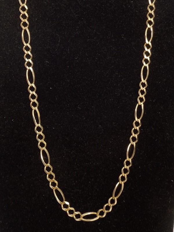 """36"""" Gold Figaro Chain 10K Yellow Gold 10.3g"""