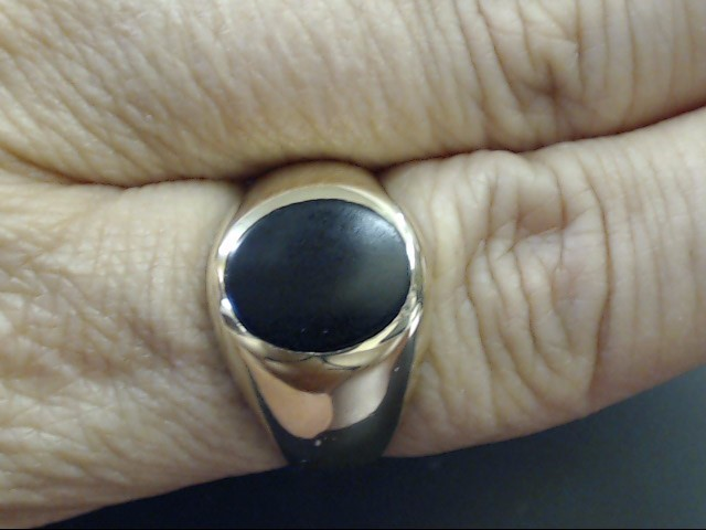 VINTAGE OVAL ONYX SIGNET RING SOLID REAL 14K YELLOW GOLD SIZE 9.25