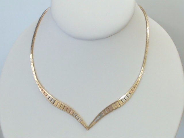 VINTAGE TRI COLOR SOLID 14K GOLD NECKLACE CHEVRON V STRIPE ITALY 16""