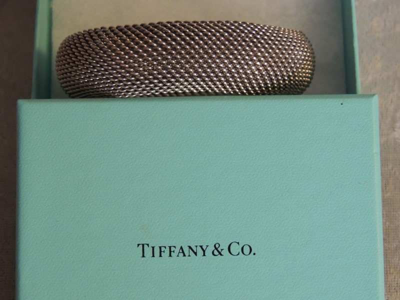 Tiffany & Co Somerset Mesh Bangle Bracelet Sterling Silver 925
