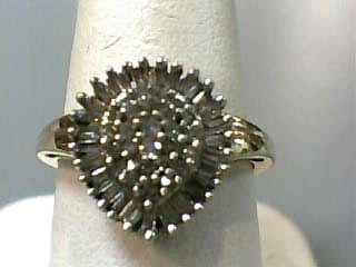Lady's Diamond Cluster Ring 55 Diamonds .85 Carat T.W. 10K Yellow Gold 2.1dwt